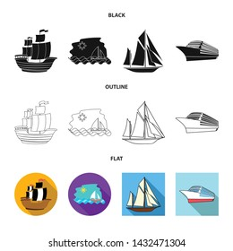 Isolated object of yacht and ship sign. Set of yacht and cruise stock symbol for web.
