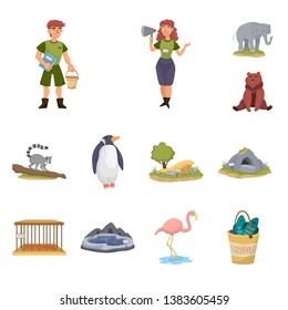 Isolated object of zoo  and park icon. Collection of zoo  and animal stock vector illustration.