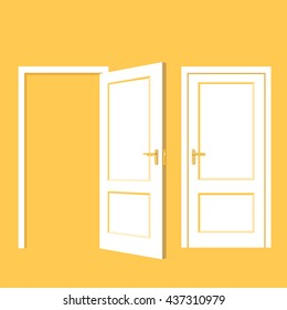 Isolated objects. Open and close door. Realistic vector illustration.
