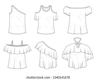 Isolated off the shoulder tops object of clothes and fashion stylish wear fill in blank. Set of clothing t shirts and vector illustration. One shoulder, ruffles, with bow and straps with sleeves