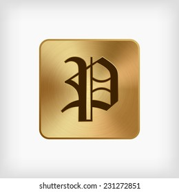 "isolated old english alphabet "" P "" letter in gold icon on white background (vector)"