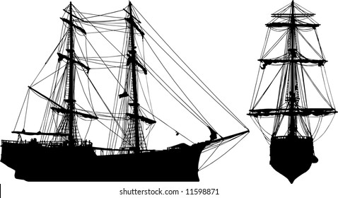 Isolated old ship