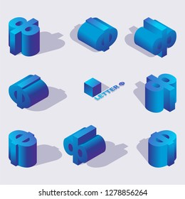 Isolated on background letters ef or F for russian or macedonian language. Cyrillic alphabet elements drawn with blue gradients and falling shadows. Good for writing, lettering