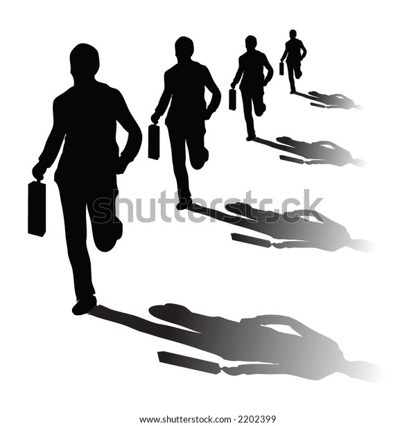 Isolated on businessmans running in vector format