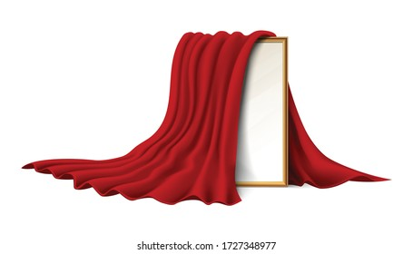 Isolated on white background. 3d realistic vector wooden picture frame covered with red velvet cloth.