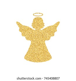 Isolated on white background golden angel. Christmas decor. Vector illustration.