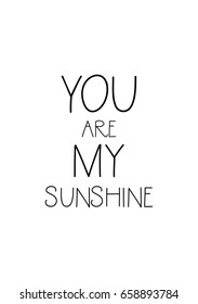 Isolated on white background. Hand drawn modern brush calligraphy. Wild quote. You are my sunshine.