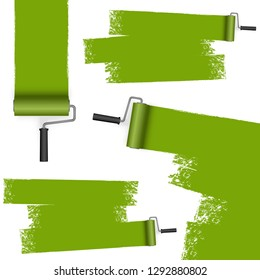 isolated on white background paint roller with painted markings colored green