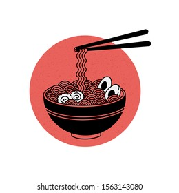 Isolated on white background ramen noodle soup vector illustration.Asian Japanese traditional food on red circle sun with texture