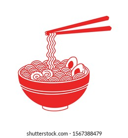 Isolated on white background red ramen noodle soup vector line illustration.Asian Japanese traditional food cuisine. Clip art, menu, poster, print, banner