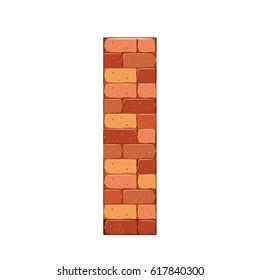 isolated on white bricks castle tower, wall stone, fence vector illustration.