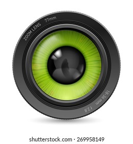 Isolated on white camera lens green eyes