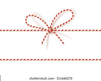 Isolated on white christmas gift tying: bow-knot of red and white twisted cord. Vector illustration, eps10.