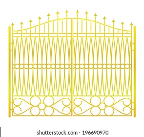 isolated on white closed golden gate fence vector illustration