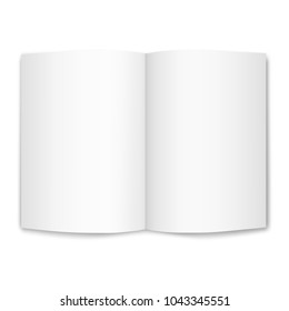 Isolated on white empty sheet of A4 paper, bent in half.  Vector realistic image of a sheet of paper, top view. 3d illustration. Layout, book page template, brochure, magazine, booklet.EPS10