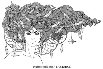 Isolated on white illustration of Native American Indian girl with feathers and dream catcher. Tribal Fusion Boho Diva. Coloring book page for adults.