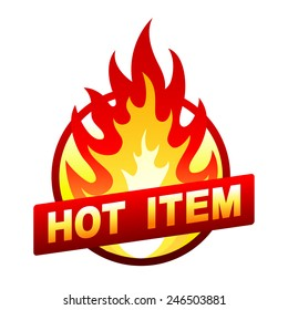 Isolated on white item sale sticker, badge with flame