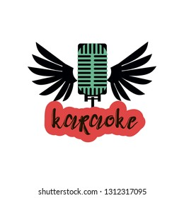 Isolated on white karaoke emblem with one green vintage style microphone with black wings and inscription on red