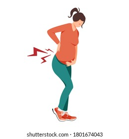 Isolated on white pregnant woman experiencing lower back pain vector illustration. Baby waiting design element. Women's consultation, gynecology, pregnancy symptoms in flat cartoon style.
