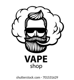 isolated on white vector background. Hand-drawn hipster dude with mustache and beard. Man with vape and cloud. Electronic Cigarette. Vector. Stickers, logo, Emblem