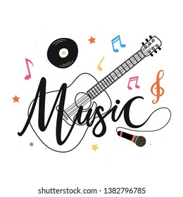Isolated on white vector illustration with acoustic guitar, microphone, notes, plate and stars and calligraphy word - Music. Musical festival typography poster, colored apparel print design