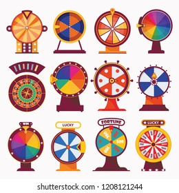 Isolated on white vector wheel fortune. Flat set for casino and gambling games in bright colors. Modern design