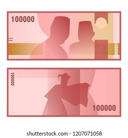 Isolated one hundred thousand rupiah vector design