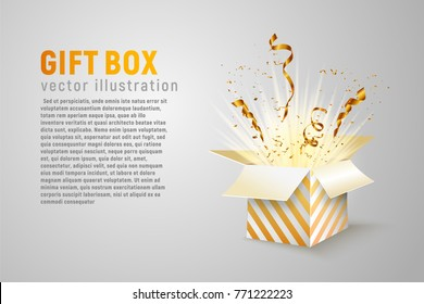 Isolated open box with gold ribbons and confetti splash on white background. Holidays vector illustration with empty space for text