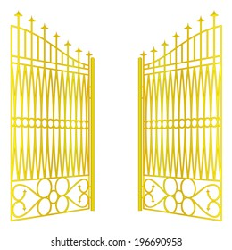 isolated open golden gate fence on white vector illustration