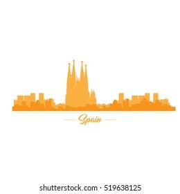 Isolated orange skyline of Barcelona, Vector illustration