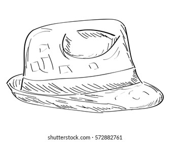 Isolated outline of a hipster hat, Vector illustration