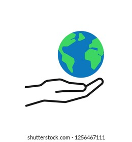 Isolated outline icon of green planet, earth in black hand on white background. Color globe and line hand. Symbol of care, protection. Save planet. Flat design.