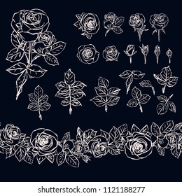 Isolated outline rose elements on dark background. Endless contour border. Seamless brush made of rose buds and leaves. Chalk.
