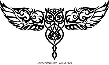 isolated owl in flight - celtic pattern
