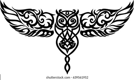 isolated owl in flight - tattoo in celtic style