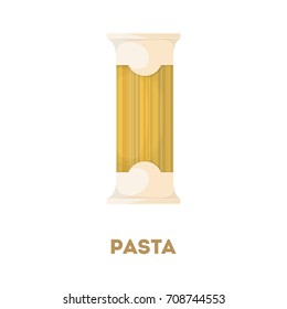 Isolated pack of spaghetti on white background.