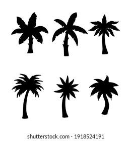 Isolated palm tree on the white background. palm Tree silhouettes. Tree hand drawn. Vector EPS 10.