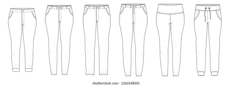 Isolated pants trousers legging bottoms shorts fashion stylish fill in the black  outline set collection vector illustration.