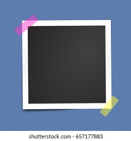 Isolated paper photo frame. Template for your design works. Vector illustration.