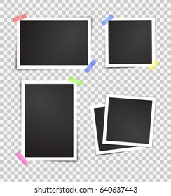 Isolated paper photo frames set. Transparent background. Template for your design works. Vector illustration.