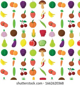Isolated pattern vegan set with bright fruits, vegetables and berries. Vector illustration.