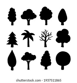 Isolated Pine on the white background. Pine silhouettes. Tree hand drawn. Vector EPS 10.
