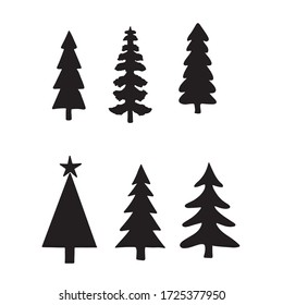 Isolated Pine on the white background.Pine silhouettes. Tree hand drawn.Vector EPS 10.