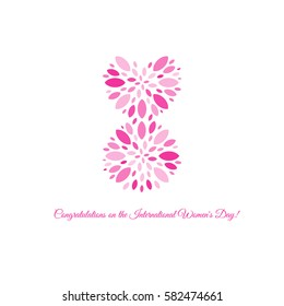 Isolated pink color number eight of petals icon, international women day greeting card element vector illustration