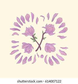 Isolated pink magnolia tree flowers and petals. Vector illustration.