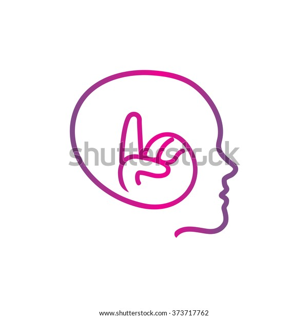 Isolated Pink Vector Human Head Silhouette Stock Vector (Royalty
