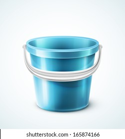 Isolated plastic bucket, Illustration contains transparency and blending effects, eps 10