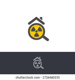 Isolated poisonous radon contamination, chemical element logo. Radioactive building, house caution icon. Radium pollution test logotype. Atomic radiation, rn sign. Dangerous environment warning.