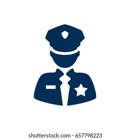 Isolated Policeman Icon Symbol On Clean Background. Vector Officer Element In Trendy Style.