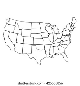 isolated political USA vectorial map of united states of america with black outline of 50 country frontier contour